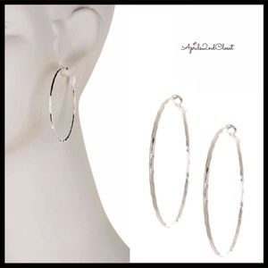 GLAM LARGE ROUND TEXTURED SILVER HOOP EARRINGS